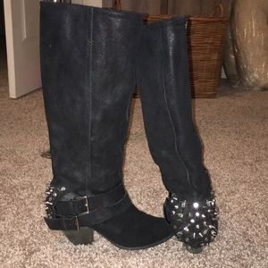 Naughty Monkey knee high studded leather boots.